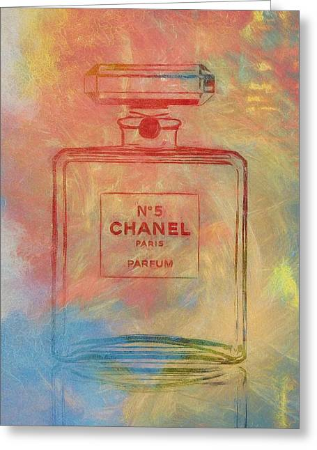 Colorful Chanel Five Greeting Card by Dan Sproul