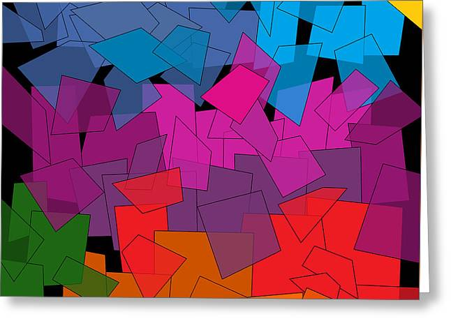 Colorful Chaos Greeting Card by Val Arie
