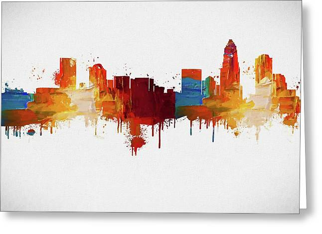 Colorful Charlotte Skyline Silhouette Greeting Card