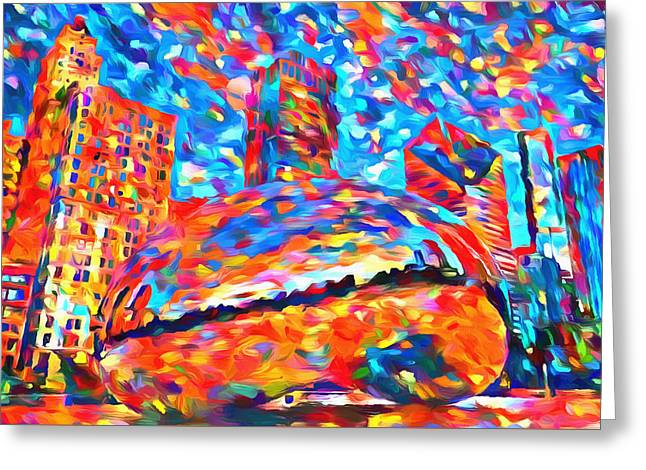Colorful Chicago Bean Greeting Card by Dan Sproul