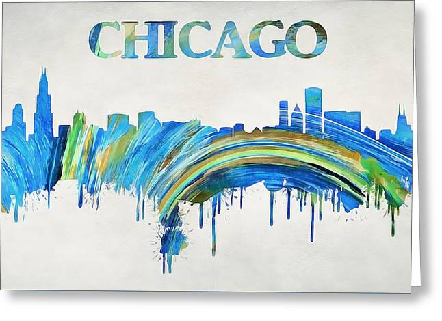 Colorful Chicago Skyline Greeting Card by Dan Sproul