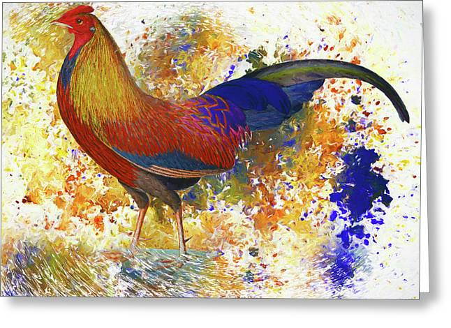 Colorful Chicken Wall Art Greeting Card by Georgiana Romanovna