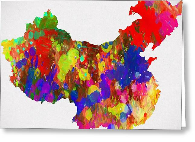 Colorful China Map Greeting Card by Dan Sproul
