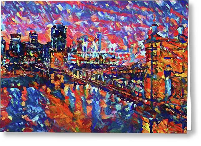 Colorful Cincinnati Skyline Greeting Card