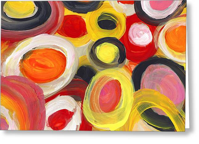 Colorful Circles In Motion Square 3 Greeting Card by Amy Vangsgard