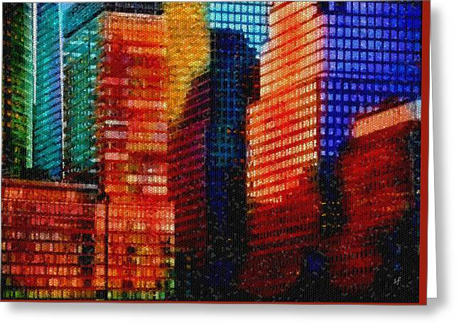 Greeting Card featuring the digital art Colorful City Abstract Mosaic by Shelli Fitzpatrick