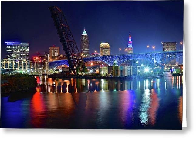 Colorful Cleveland Lights Shimmer Bright Greeting Card by Frozen in Time Fine Art Photography