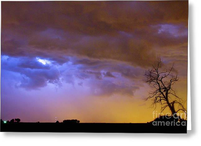 Colorful Cloud To Cloud Lightning Stormy Sky Greeting Card
