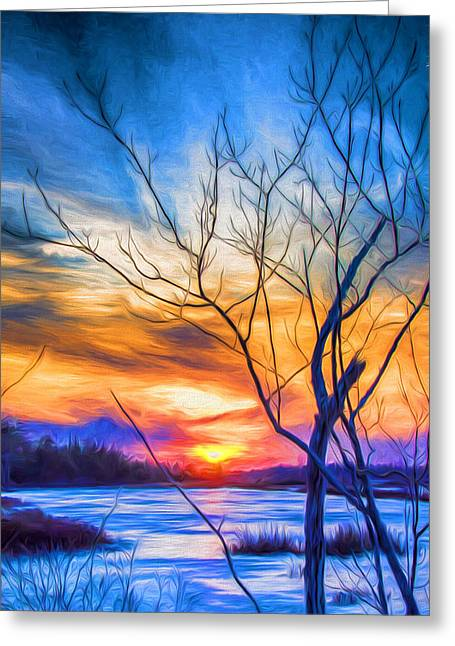 Colorful Cold Sunset Greeting Card