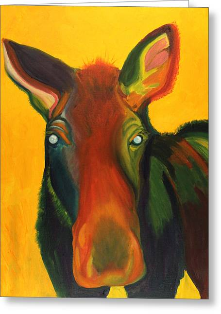 Colorful Cow Greeting Card by Amy Reisland-Speer