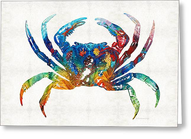Colorful Crab Art By Sharon Cummings Greeting Card