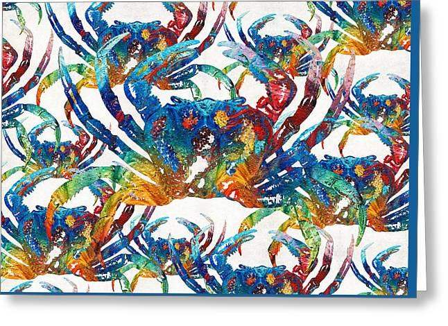 Colorful Crab Collage Art By Sharon Cummings Greeting Card
