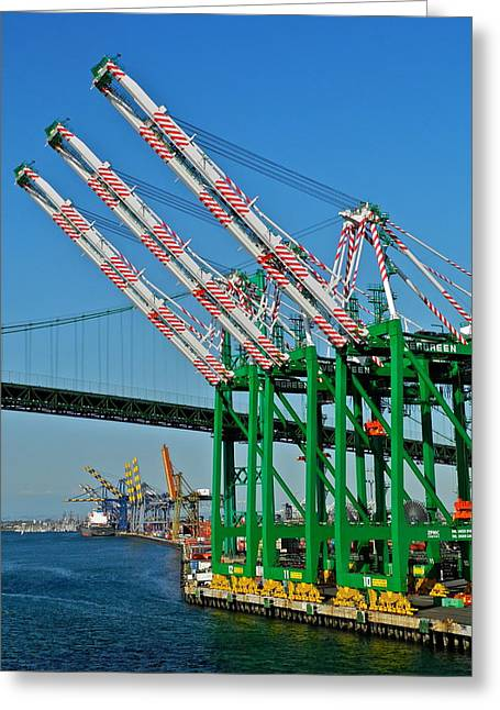 Colorful Cranes In San Pedro Harbor Greeting Card by Kirsten Giving