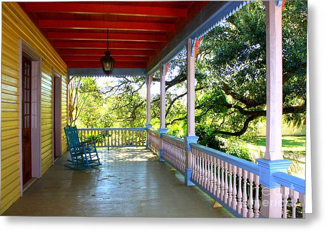 Colorful Creole Porch Greeting Card by Carol Groenen