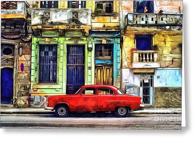Greeting Card featuring the painting Colorful Cuba by Edward Fielding