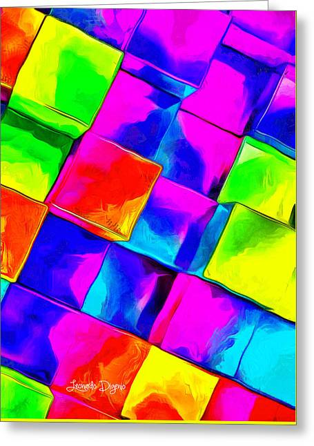 Colorful Cubes Greeting Card by Leonardo Digenio