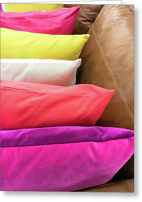 Colorful Cushions Greeting Card by Tom Gowanlock