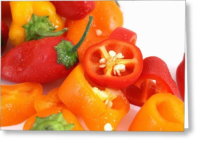 Colorful Cut Peppers Greeting Card by Robert Gebbie