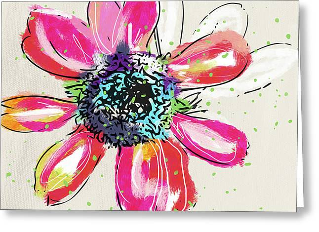 Greeting Card featuring the mixed media Colorful Daisy- Art By Linda Woods by Linda Woods