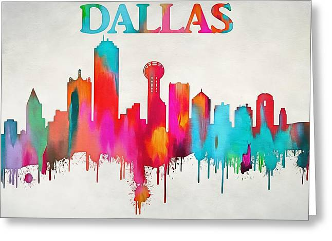 Colorful Dallas Skyline Silhouette Greeting Card
