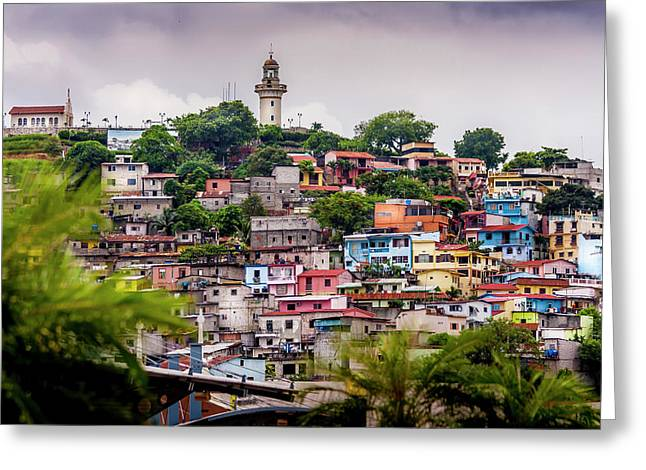Colorful Houses On The Hill Greeting Card
