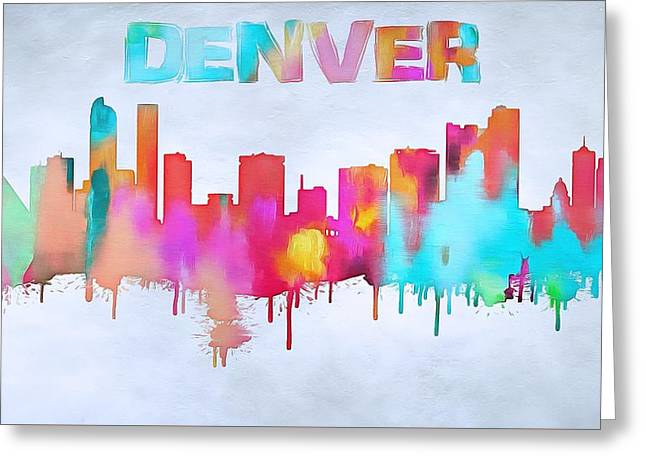 Colorful Denver Skyline Silhouette Greeting Card by Dan Sproul