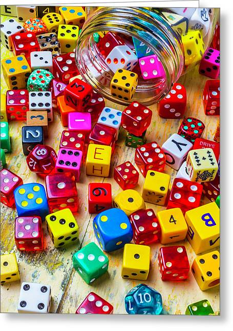 Colorful Dice Spilling From Jar Greeting Card