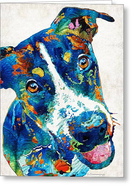 Colorful Dog Art - Happy Go Lucky - By Sharon Cummings Greeting Card by Sharon Cummings