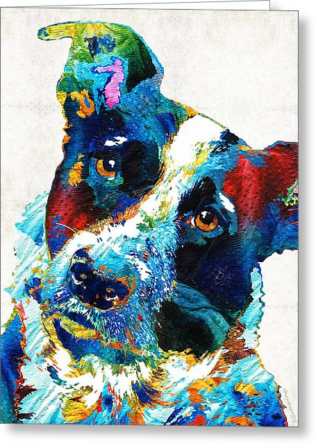 Colorful Dog Art - Irresistible - By Sharon Cummings Greeting Card