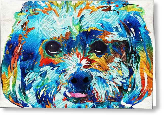 Colorful Dog Art - Lhasa Love - By Sharon Cummings Greeting Card