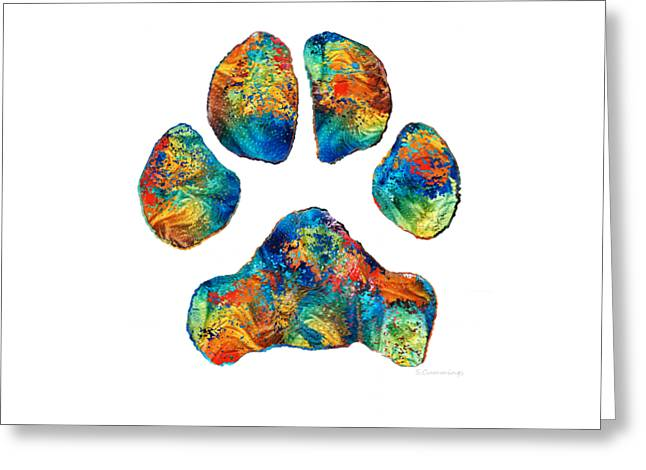 Colorful Dog Paw Print By Sharon Cummings Greeting Card