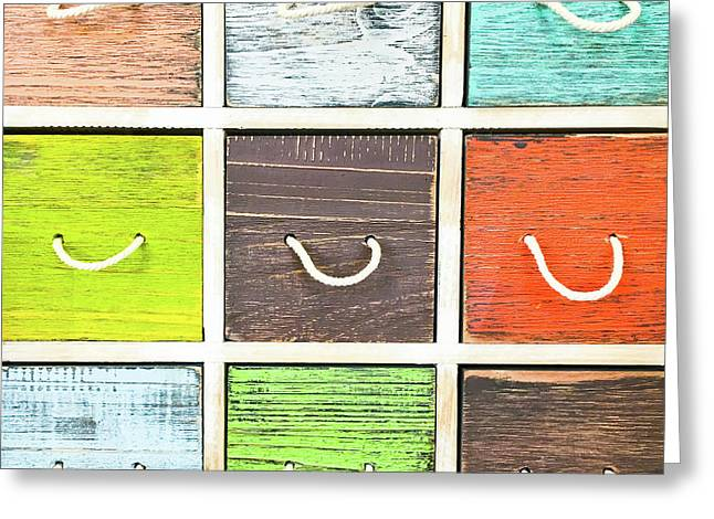 Colorful Drawers Greeting Card by Tom Gowanlock