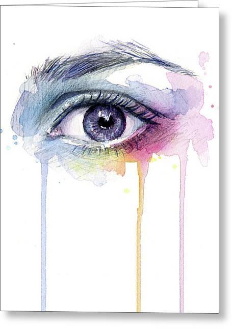 Colorful Dripping Eye Greeting Card by Olga Shvartsur