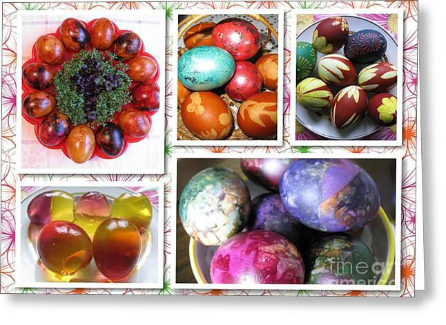 Greeting Card featuring the photograph Colorful Easter Eggs Collage 07 by Ausra Huntington nee Paulauskaite
