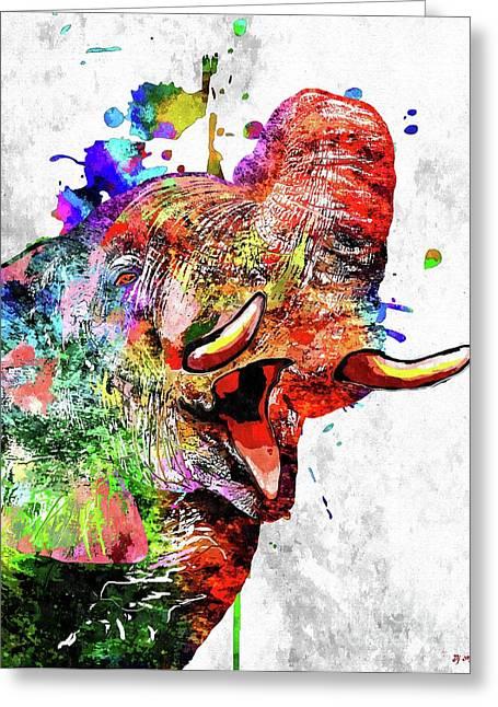 Colorful Elephant Greeting Card by Daniel Janda