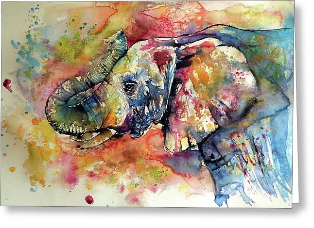 Colorful Elephant II Greeting Card