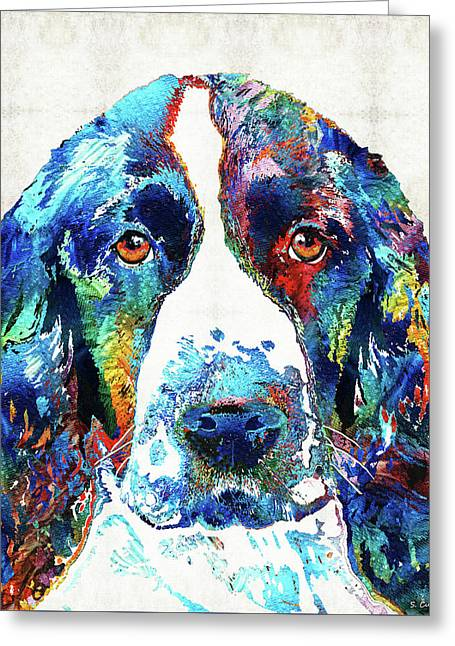 Colorful English Springer Spaniel Dog By Sharon Cummings Greeting Card