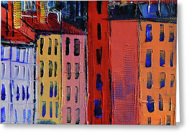 Colorful Facades Greeting Card by Mona Edulesco