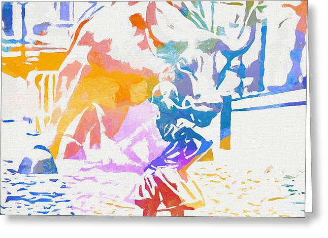 Colorful Fearless Girl Greeting Card by Dan Sproul