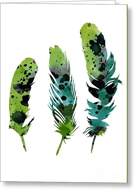 Colorful Feathers Minimalist Painting Greeting Card by Joanna Szmerdt