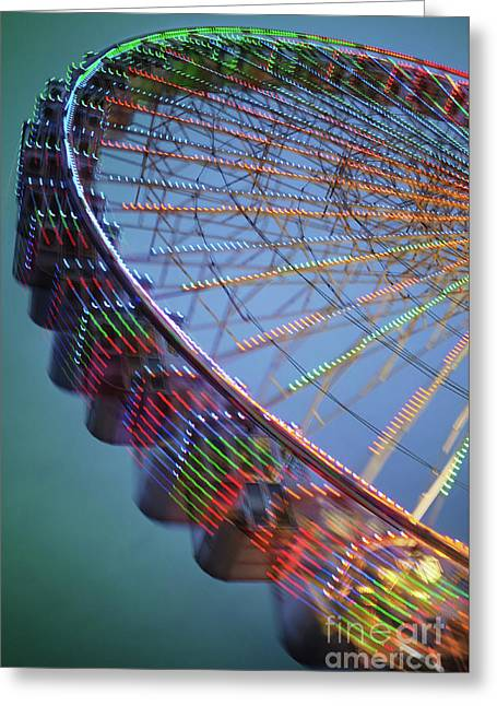 Colorful Ferris Wheel Greeting Card by Carlos Caetano