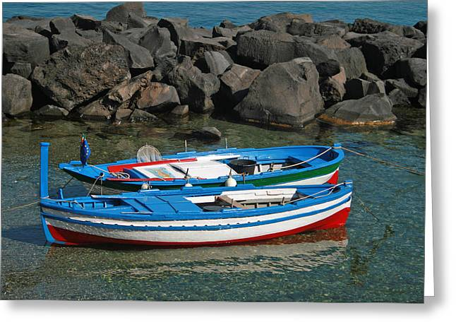 Colorful Fishing Boats Greeting Card by Chuck Wedemeier