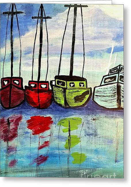 Colorful Fishing Boats Greeting Card