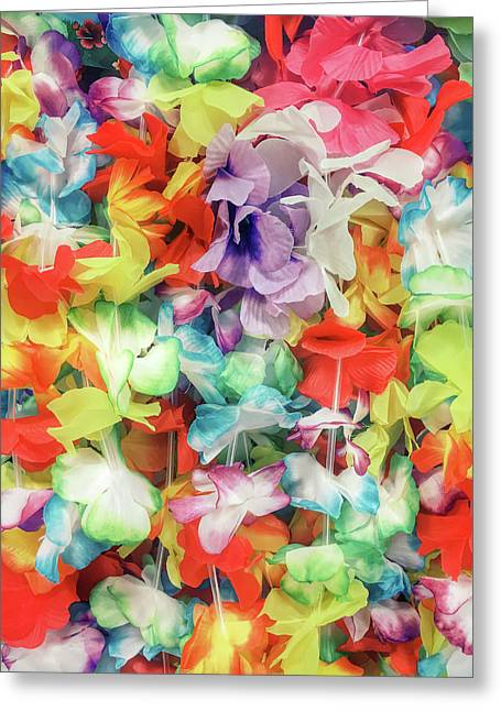 Colorful Floral Garlands Greeting Card by Tom Gowanlock