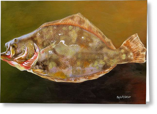 Colorful Flounder Greeting Card by Phyllis Beiser