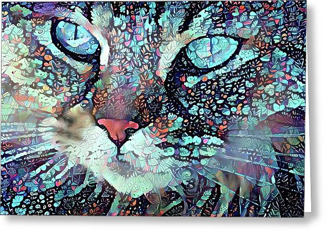 Colorful Flower Cat Art - A Cat Called Blue Greeting Card by Peggy Collins