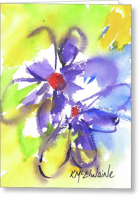 Colorful Flower Greeting Card by Kathleen McElwaine