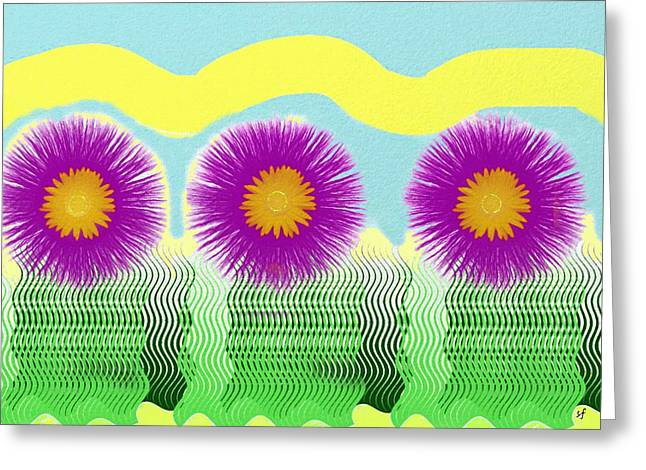 Greeting Card featuring the digital art Colorful Flower Pop Art by Shelli Fitzpatrick