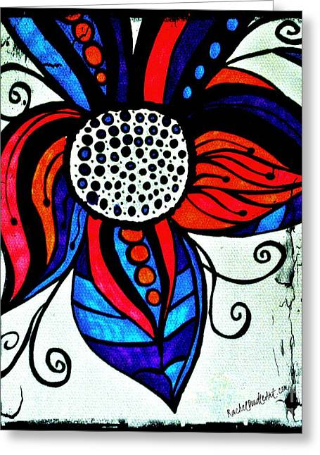 Greeting Card featuring the drawing Colorful Flower by Rachel Maynard