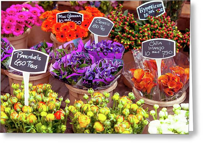 Colorful Flowers Display Greeting Card by Jenny Rainbow